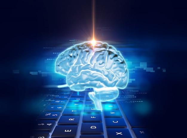 Wiedergabe 3d des menschlichen gehirns auf technologiehintergrund