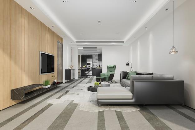 Wiedergabe 3d des modernen esszimmers und des wohnzimmers mit luxusdekor