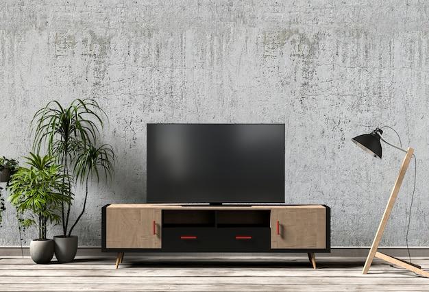 Wiedergabe 3d des modernen innenwohnzimmers mit smart-fernsehen, kabinett, lampe und anlage.