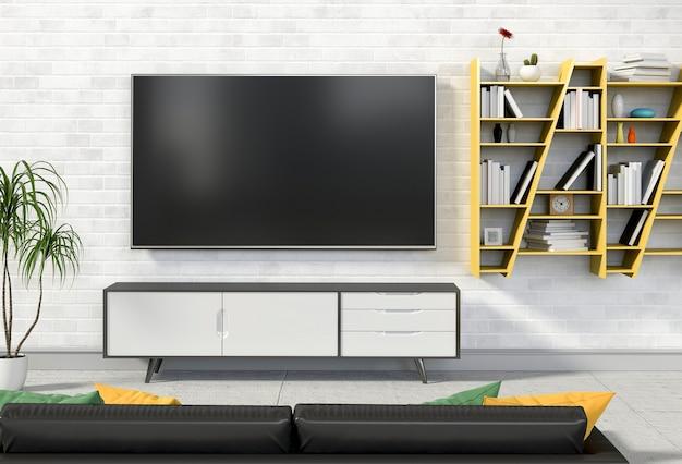 Wiedergabe 3d des modernen innenwohnzimmers mit smart-fernsehen, kabinett, sofa und dekorationen