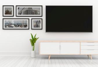 Wiedergabe 3D des modernen Innenwohnzimmers mit Smart-Fernsehen