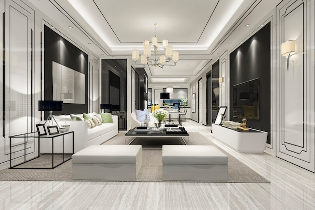 Wiedergabe 3d des modernen luxusesszimmers und des wohnzimmers