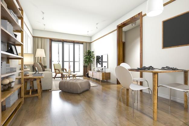 Wiedergabe 3d des modernen luxuswohnzimmers und des esszimmers