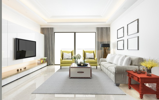 Wiedergabe 3d des modernen luxuswohnzimmers