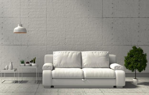 Wiedergabe 3d des modernen wohnzimmers des innenraums