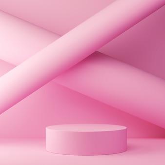 Wiedergabe 3d des pastellfarbhintergrundes mit einem designpodium für anzeige in der unbedeutenden artszene.