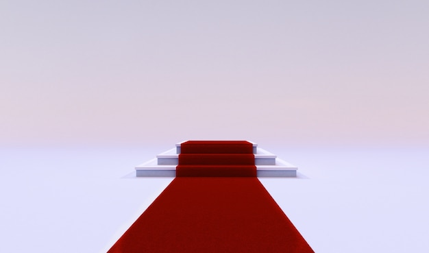 Wiedergabe 3d des roten ereignisteppichs mit der treppe am ende lokalisiert auf einem weißen hintergrund.