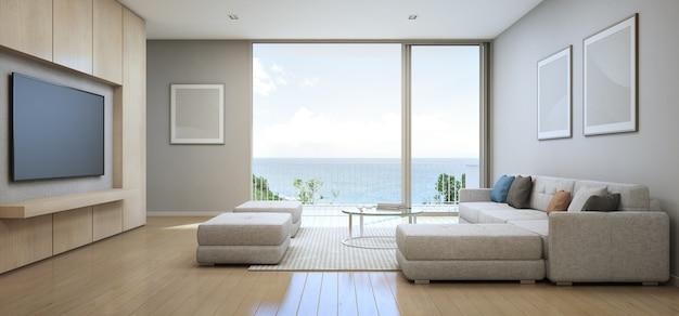 Wiedergabe 3d des seeansichtswohnzimmers mit terrasse im modernen luxusstrandhaus.