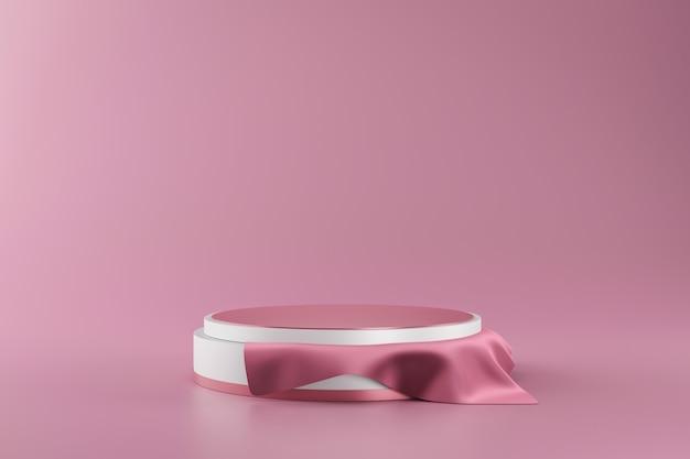 Wiedergabe 3d des weißen und rosa podiums