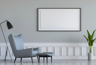 Wiedergabe 3D des Wohnzimmer-Innenraums mit Lehnsessel