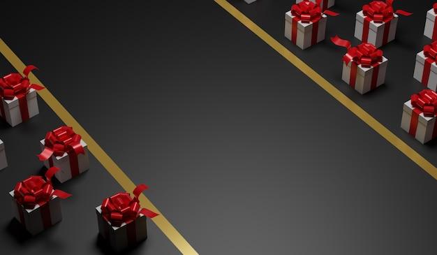 Wiedergabe 3d geschenkboxen und bandhintergrund. weihnachten und happy new year celebration.