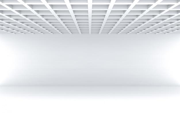 Wiedergabe 3d moderne quadratische musterdecke mit leerem weißem wandraumwand-designhintergrund.