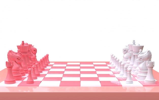 Wiedergabe 3d schach auf einem schachbrett, lokalisierter weißer hintergrund, rosa und weiß minimal
