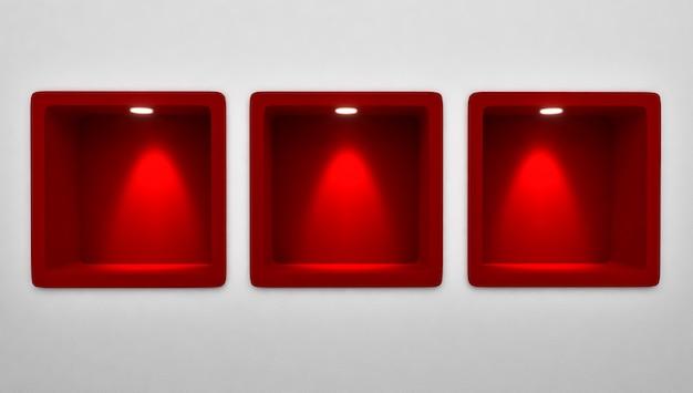 Wiedergabe 3d von leeren 3 gerundeten roten nischen-regal-anzeige in der wand