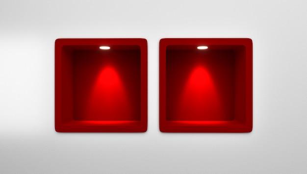Wiedergabe 3d von leeren 4 gerundeten roten nischen-regal-anzeige in der wand