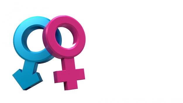 Wiedergabe 3d von symbolen des männlichen und weiblichen geschlechts, die gleich sind oder zusammen leben.
