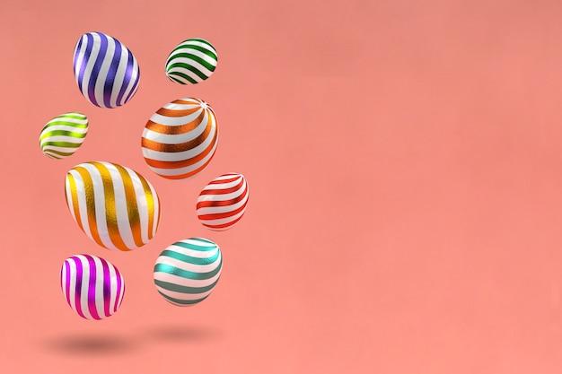 Wiedergabe 3d von verzierten eiern in der mehrfarbigen folie. ostern design-elemente