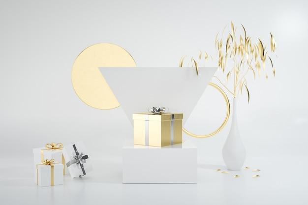 Wiedergabe der abstrakten form mit geschenkbox lokalisiert auf weißem hintergrund für standproduktanzeige