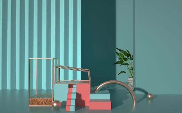 Wiedergabe der abstrakten geometrischen form mit gestuftem podium