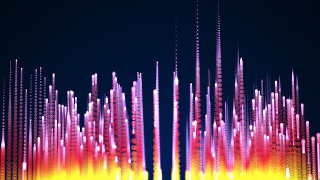 Wiedergabe der illustration 3d, glühende digitale schallwellen von bunten glänzenden partikeln.