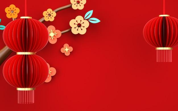 Wiedergabe des abstrakten roten hintergrundes mit dekorationen im chinesischen stil