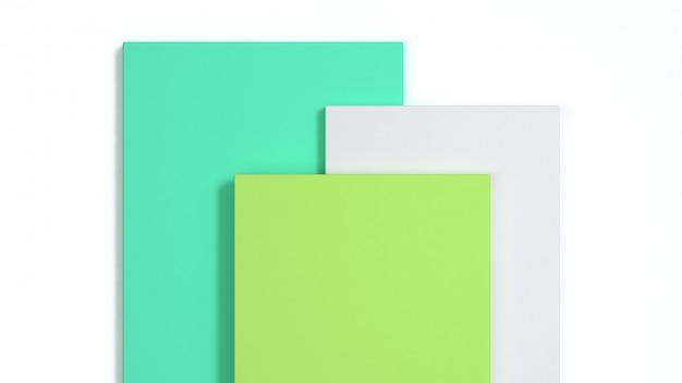 Wiedergabe des abstrakten weißen quadrats 3d des hintergrundgrüns