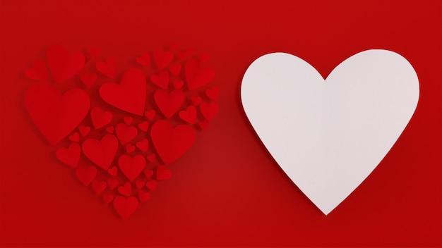 Wiedergabe des kartenhintergrundliebes-valentinsgrußkonzeptes 3d des geschenkboxherzens sich hin- und herbewegende