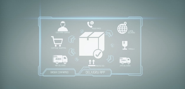 Wiedergabe des logistischen lieferungsanwendungsbildschirms 3d