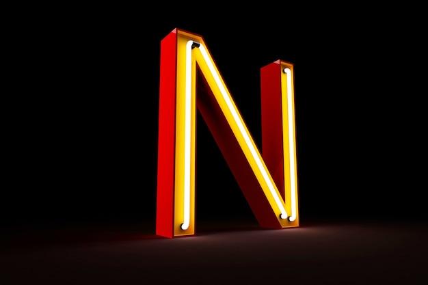 Wiedergabe des neonlichtalphabetes 3d auf schwarzem hintergrund