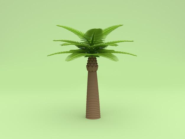 Wiedergabe des polykarikaturart-grünhintergrundes 3d der palme niedrige