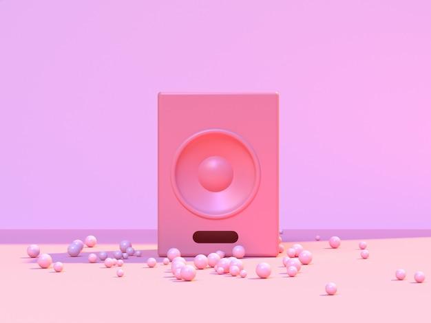Wiedergabe des runden sprecher-musikkonzeptes 3d der minimalen abstrakten rosa szenenbodenwand runden
