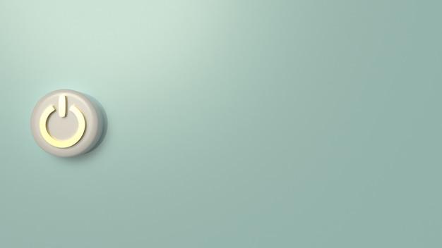 Wiedergabe des startknopfsymbols 3d für hintergrund.