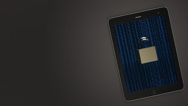 Wiedergabe des tabellen- und hauptschlüssels 3d für sicherheitstechnologie.