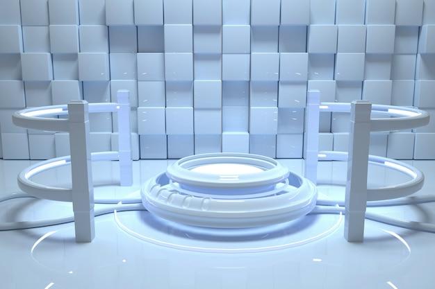 Wiedergabe von abstraktem weiß mit kreisförmigem sockel für standprodukt