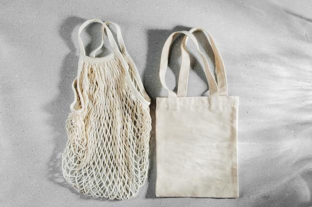 Wiederverwendbare einkaufstaschen. zero-waste-konzept. kein plastik.