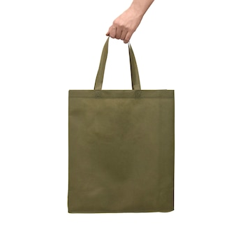 Wiederverwendbare stofftasche in der hand