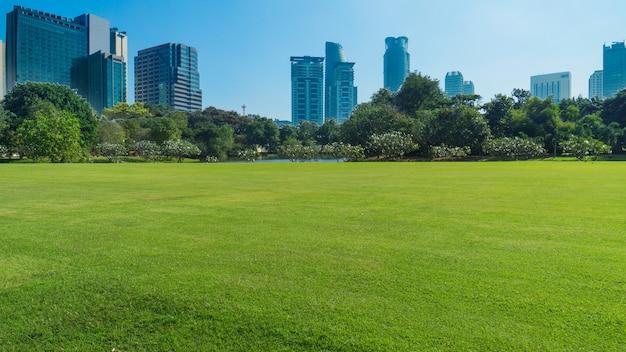 Wiesengrünfeld mit bäumen und gebäudetempel und großartigem palast im blauen himmel, bangkok thailand