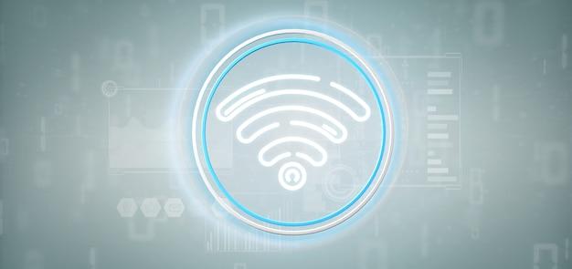 Wifi-symbol mit statistiken und binärcode