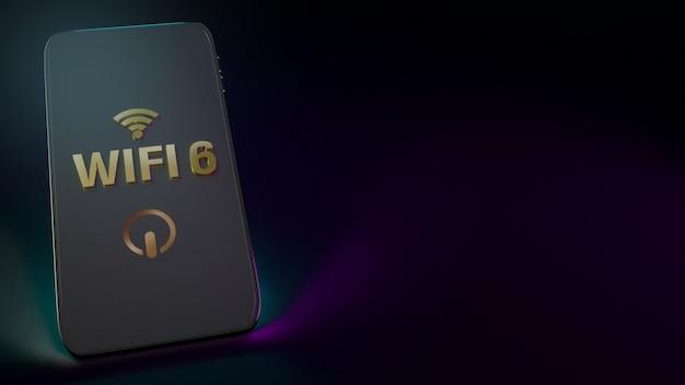 Wifi6-wort auf dem 3d-rendering des smartphones für netzwerkinhalte.