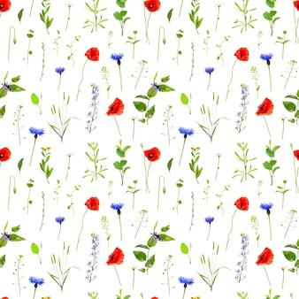 Wildblumen nahtlose muster. natur hintergrund