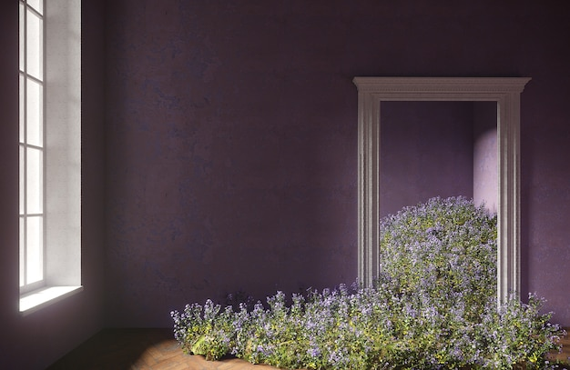 Wilde feldblumen fallen in den raum, abstraktes innenkonzept mit kopierraum. 3d-illustration