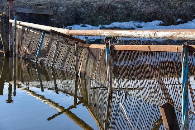 Wilderer improvisierten den fluss beim laichen von fischen