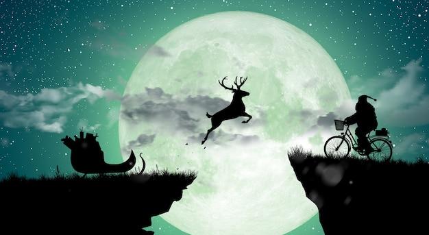 Willkommen, frohe weihnachten und ein glückliches neues jahr silhouette deer springen über die lücke zum weihnachtsmann