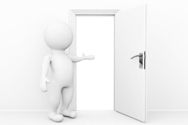 Willkommenes konzept. 3d-person willkommen und lädt in offene tür ein