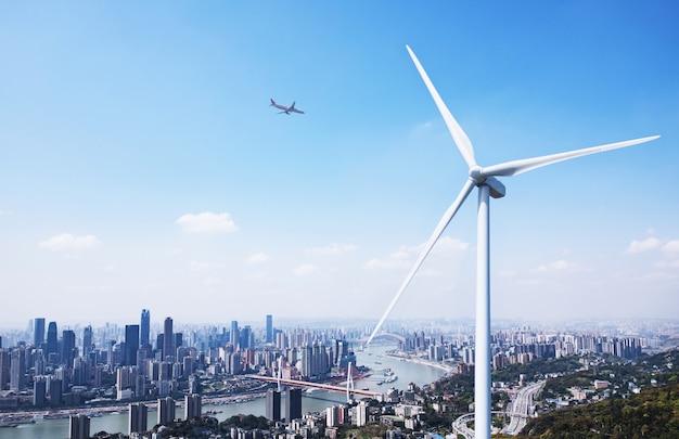 Windkraft und stadtlandschaft