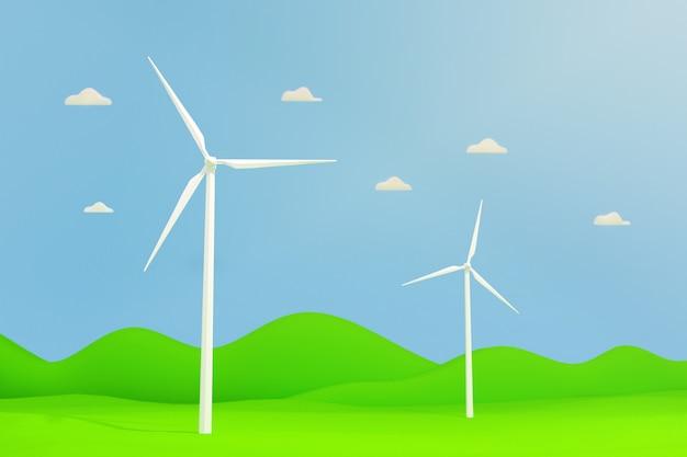 Windkraftanlage auf der grünen wiese, innovation der wind sauberen energietechnologie, 3d-illustration.