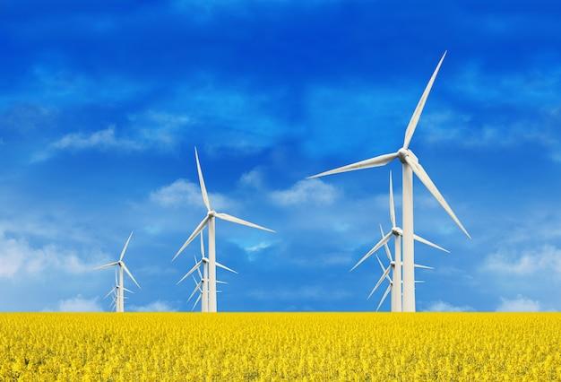 Windkraftanlage in gelben blüten