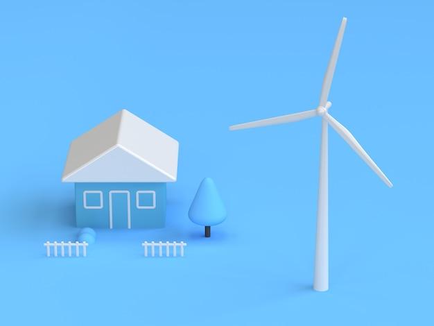 Windkraftanlagehaus der blauen abstrakten wiedergabe der szene 3d