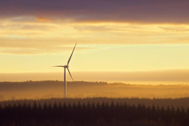 Windkraftanlagen auf dem land bei sonnenuntergang. west lothian, schottland, vereinigtes königreich