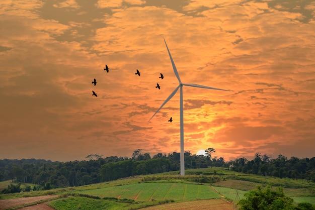 Windkraftanlagen auf schöner sonniger sommerherbstberglandschaft
